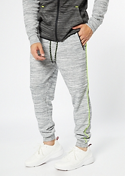 Gray Space Dye Neon Striped Joggers
