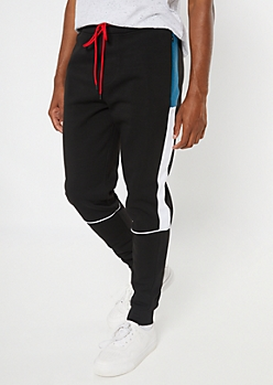 Black Side Striped Colorblock Joggers