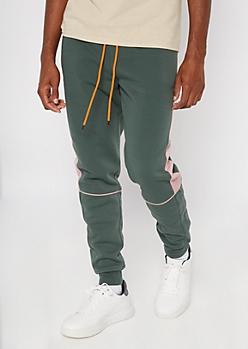 Green Side Striped Colorblock Joggers