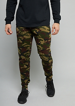 Camo Print Zipper Pocket Knit Joggers