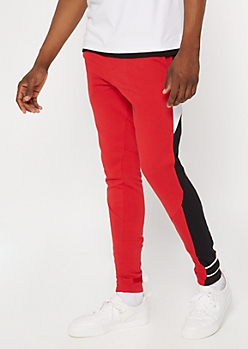 Red Colorblock Drawstring Joggers