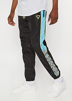 Black Colorblock Bungee Drawstring Joggers