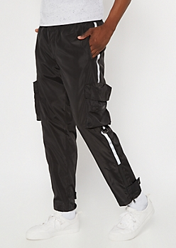 Black Reflective Side Striped Utility Joggers
