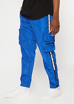 Royal Blue Reflective Side Striped Utility Joggers