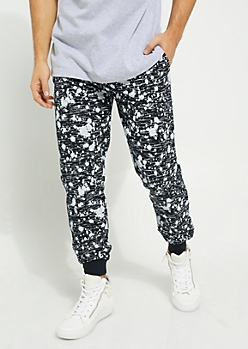 Black Space Dye Paint Splattered Knit Joggers