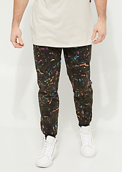 Olive Paint Splatter Knit Joggers
