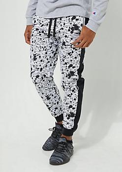White Side Stripe Paint Splattered Knit Joggers