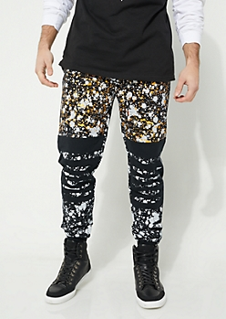 Black Metallic Paint Splattered Slashed Knee Knit Joggers