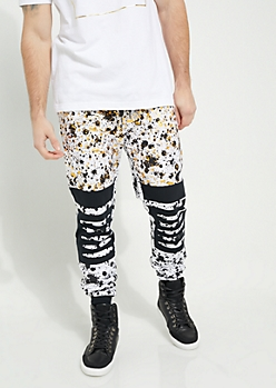 White Metallic Paint Splattered Slashed Knee Knit Joggers