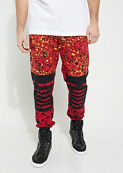Red Metallic Paint Splattered Slashed Knee Knit Joggers