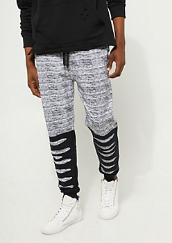 White Space Dye Slashed Knit Joggers