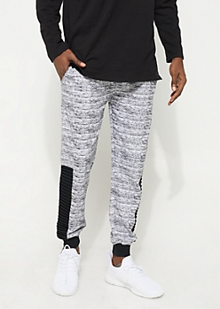 White Space Dye Knit Moto Joggers