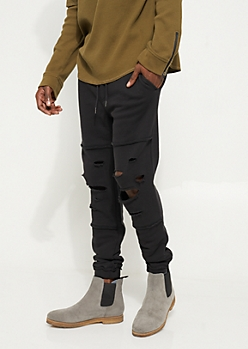 Black Raw Edge Distressed Joggers