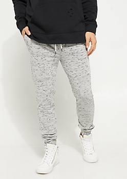 Gray Marled Knit Joggers