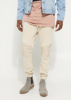 Sand Moto Stitch Knit Jogger