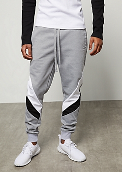 Gray Striped Colorblock Joggers