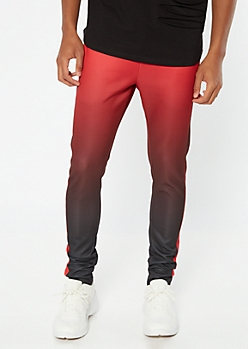 Red Ombre Side Striped Joggers