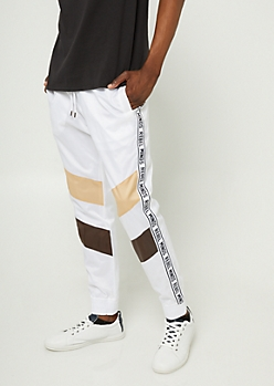White Stripe Pattern Rebel Minds Joggers