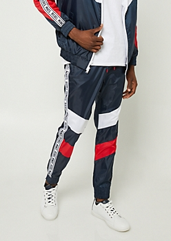 Navy Stripe Pattern Rebel Minds Joggers