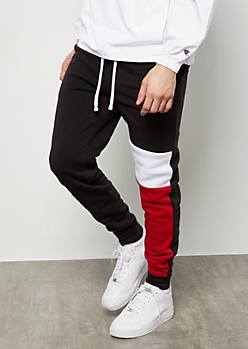 Black Colorblock Leg Fleece Athletic Joggers