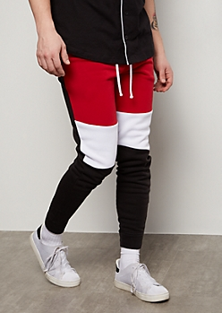 Black Colorblock Panel Fleece Joggers