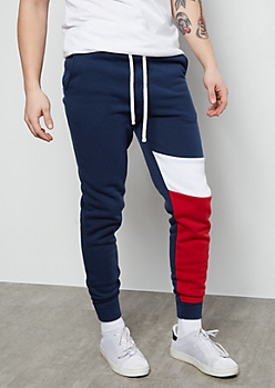 Navy Single Leg Colorblock Panel Fleece Joggers