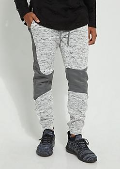 Gray Paneled Knee Cozy Joggers