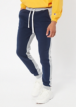 Navy Colorblock Fleece Joggers