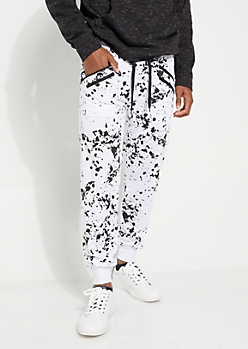 White Paint Splattered Double Zip Joggers