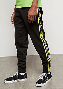 Black Colorblock Rebel Star Side Striped Joggers