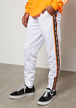 White Colorblock Rebel Star Side Striped Joggers