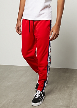 Red Rebel Star Side Striped Joggers