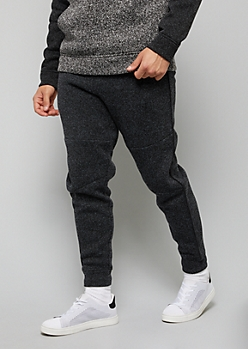Marled Black Side Striped Fleece Joggers