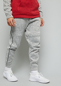Marled Gray Side Striped Fleece Joggers