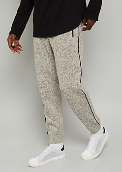Marled Oatmeal Side Striped Fleece Joggers