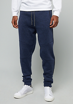 Marled Navy Side Striped Fleece Joggers