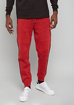 Marled Red Side Striped Fleece Joggers
