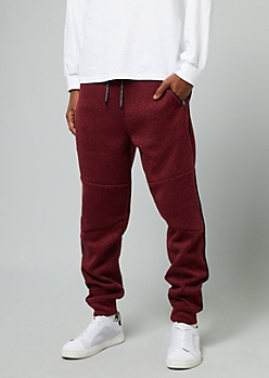 Marled Burgundy Side Striped Fleece Joggers
