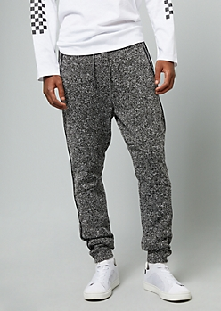 Marled Black And White Side Striped Fleece Joggers