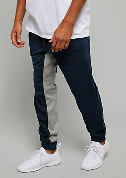 Navy Space Dye Colorblock Inseam Joggers