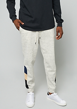 Light Gray Space Dye Colorblock Joggers