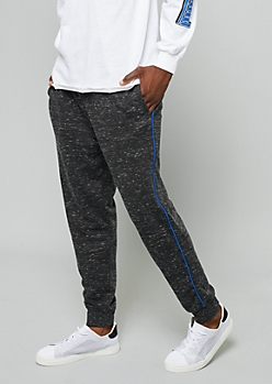 Black Space Dye Blue Trim Joggers