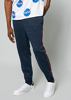Navy Space Dye Red Trim Joggers