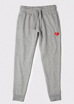 Gray Embroidered Broken Heart Joggers