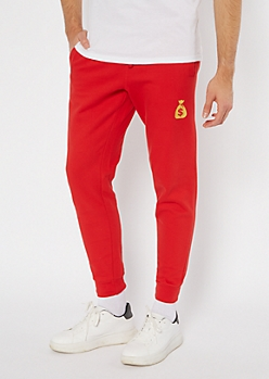 Red Money Bag Embroidered Skinny Joggers