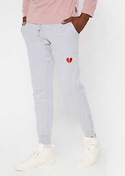Gray Cotton Broken Heart Embroidered Joggers