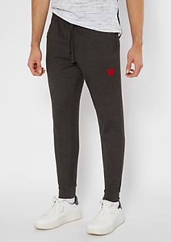 Charcoal Gray Broken Heart Embroidered Skinny Joggers