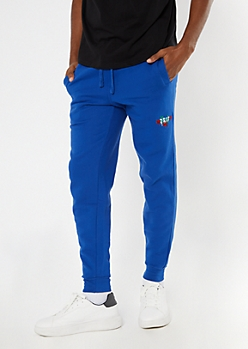 Royal Blue Drip Rose Embroidered Joggers