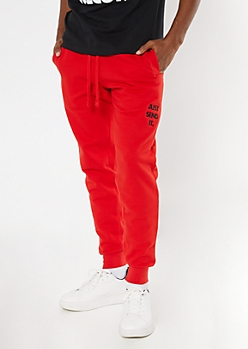 Red Send It Embroidered Joggers