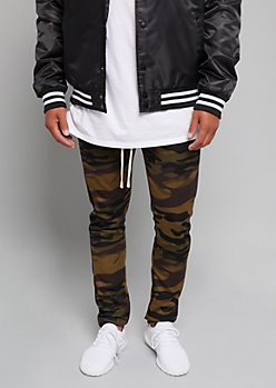Camo Print Black Side Striped Track Pants